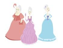 Un insieme di tre principesse fiere del fumetto di vettore su fondo bianco Fotografie Stock Libere da Diritti