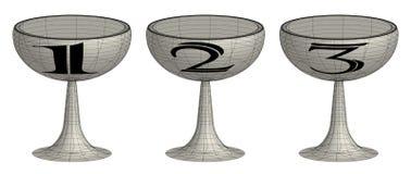 Un insieme di tre tazze del trofeo 3d Fotografia Stock