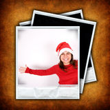 Un insieme di tre telai della foto con le immagini di natale Fotografie Stock