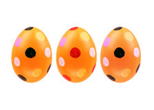 Un insieme di tre uova di Pasqua isolate su fondo bianco per progettazione Immagine Stock Libera da Diritti