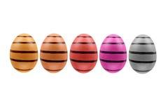 Un insieme di tre uova di Pasqua isolate su fondo bianco per progettazione Immagini Stock Libere da Diritti