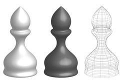 Un insieme di tre vescovi di scacchi 3d illustrazione vettoriale