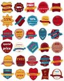 Un insieme di trenta distintivi di vettore con i nastri Autoadesivi ed etichette di web royalty illustrazione gratis