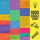 Un insieme di un'icona di 1000 scarabocchi Illustrazione Vettoriale