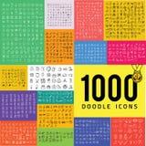 Un insieme di un'icona di 1000 scarabocchi Immagini Stock Libere da Diritti