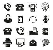 Un insieme di un'icona di sedici comunicazioni Fotografie Stock