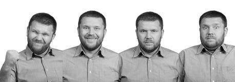 Un insieme di un uomo barbuto di quattro emozioni Immagine Stock