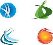 Un insieme di una progettazione di quattro logos illustrazione di stock