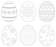 Un insieme di 6 uova di Pasqua Fotografie Stock Libere da Diritti