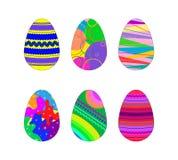 Un insieme di 6 uova di Pasqua con il modello geometrico illustrazione vettoriale