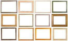 Un insieme di 12 varie cornici di legno dei pc Fotografia Stock Libera da Diritti