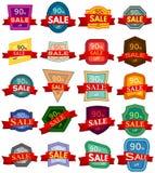 Un insieme di venti autoadesivi di sconto Distintivi variopinti con il nastro rosso da vendere 90 per cento fuori Fotografia Stock Libera da Diritti