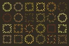 Un insieme di venti quattro floreali in tondo e dei telai quadrati Fotografia Stock