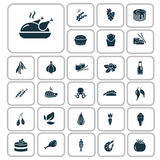 Un insieme di ventisette icone dell'alimento Fotografia Stock