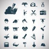 Un insieme di ventisette icone della costruzione Fotografia Stock