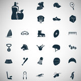 Un insieme di ventisette icone di sport Fotografia Stock