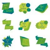 Un insieme di verde nove di nuovo ai distintivi di scuola illustrazione di stock