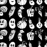Un insieme di 10 verdure divertenti in bianco e nero del fumetto Immagine Stock