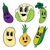 Un insieme di 6 verdure divertenti del fumetto con i fronti Immagini Stock