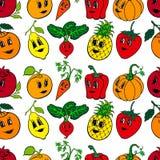 Un insieme di 10 verdure e frutta divertenti del fumetto illustrazione vettoriale