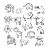 Un insieme di vettore di sedici pecore sveglie Fotografia Stock Libera da Diritti