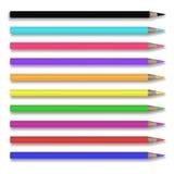 Un insieme di vettore di 10 matite colorate realistiche illustrazione vettoriale