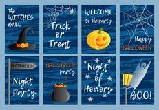 Un insieme di vettore di otto cartoline, inviti o insegne Un grande Web di ragno prima di una luna luminosa bizzarra Simboli ed i illustrazione vettoriale