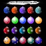 Un insieme di vettore di 20 palle di Natale illustrazione vettoriale
