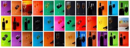 Un insieme di vino e di vetri differenti Immagine Stock Libera da Diritti