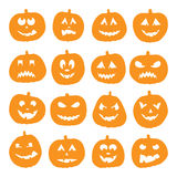 Un insieme di 16 zucche di Halloween Fotografia Stock Libera da Diritti