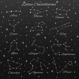 Un insieme disegnato a mano delle costellazioni dello zodiaco di vettore di 12 segni illustrazione di stock