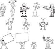 Un insieme disegnato a mano di clipart del robot di 12 Fotografie Stock Libere da Diritti