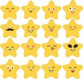 Un insieme divertente e sveglio di vettore di 16 stelle di kawaii Fotografia Stock