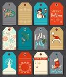 Un insieme etichette sveglie del regalo del nuovo anno e di 12 Natali Fotografie Stock