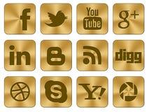 Insieme dorato del sociale delle icone Immagine Stock
