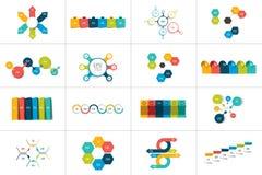 Un insieme mega di 6 modelli infographic di punti, diagrammi, grafico, presentazioni, grafico illustrazione di stock