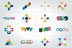 Un insieme mega di 4 modelli infographic di punti, diagrammi, grafico, presentazioni, grafico illustrazione di stock