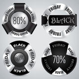 Un insieme nero del distintivo di venerdì di 4 Immagini Stock Libere da Diritti