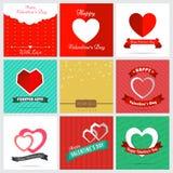 Un insieme nove di stile Valentine Card Design felice Fotografie Stock Libere da Diritti