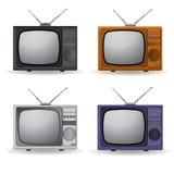 Un insieme quattro dell'annata TV Fotografia Stock Libera da Diritti