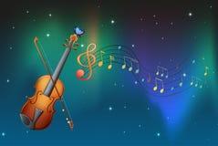 Un instrumento de la secuencia con una mariposa y notas musicales ilustración del vector