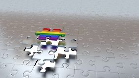 Un intento de Grey Puzzle Piece a escaparse del otro Grey Pieces y a hacer arco iris libre illustration