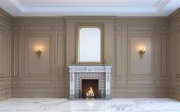 Un interior clásico con el revestimiento de madera y la chimenea de madera representación 3d ilustración del vector