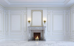 Un interior clásico está en tonos ligeros con la chimenea representación 3d fotografía de archivo libre de regalías