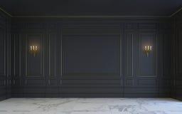 Un interior clásico está en tonos oscuros representación 3d