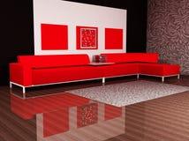 Un interiore moderno con un sofà Fotografia Stock Libera da Diritti