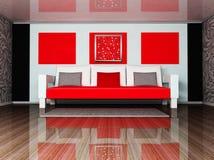 Un interiore moderno con un sofà Immagine Stock Libera da Diritti