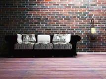 Un interiore moderno con un sofà e una lampada Fotografie Stock