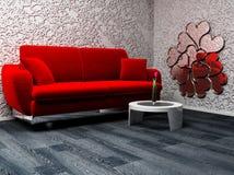 Un interiore moderno con un sofà e una tabella Fotografia Stock