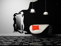 Un interiore moderno con una poltrona e uno specchio Immagine Stock Libera da Diritti